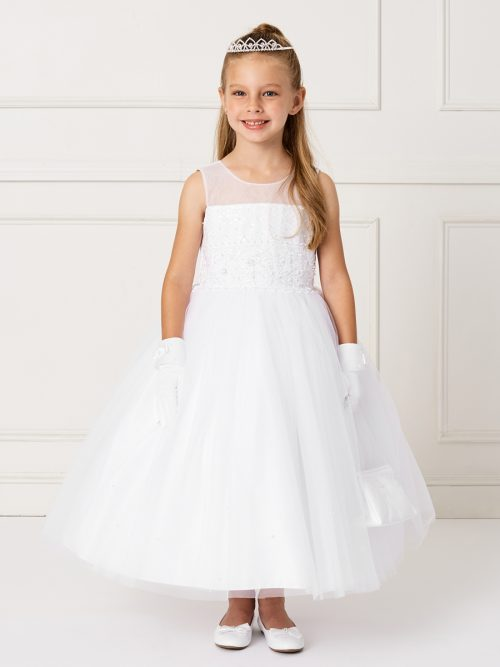Ankle Length Lace and Mesh First Communion Dress with Sheer Neckline