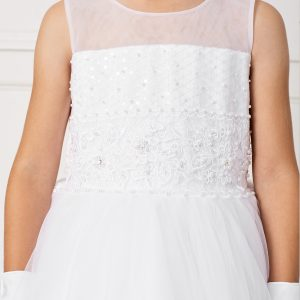 Ankle Length Lace and Mesh First Communion Dress with Sheer Neckline Bodice