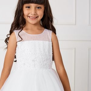 Ankle Length Lace and Mesh Girls First Communion Dress with Sheer Neckline