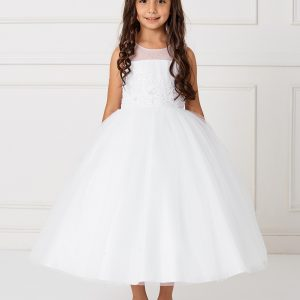Ankle Length Lace and Mesh White First Communion Dress with Sheer Neckline