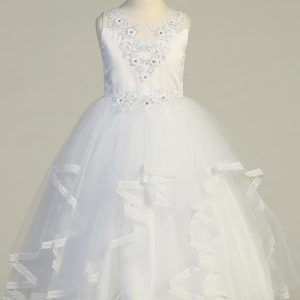 White First Communion Dress with Ruffled Tulle Skirt