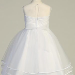Beaded Tulle First Communion Dress with Layered Skirt