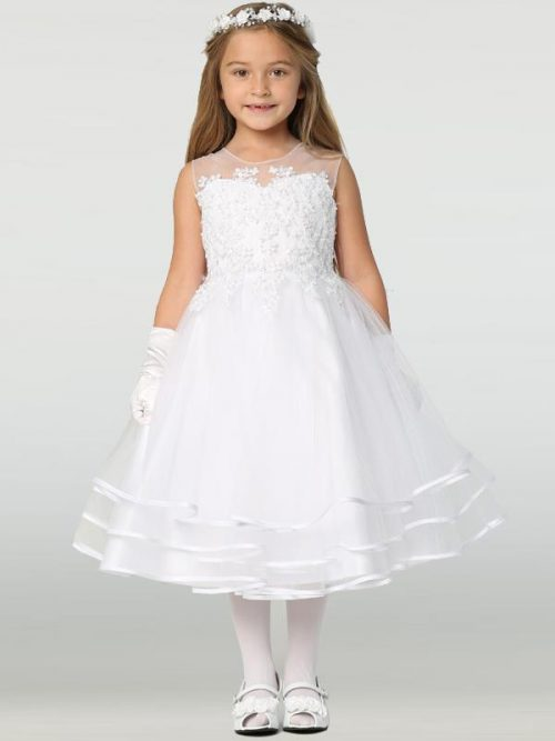 New Style Beaded Tulle First Communion Dress with Layered Skirt for 2020