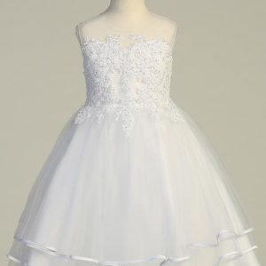 Catholic Beaded Tulle First Communion Dress with Layered Skirt