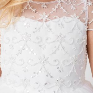 Beautiful Beaded Tulle First Communion Dress with Short Sleeves