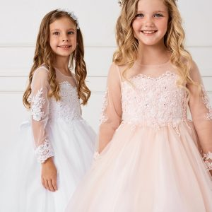 Beautiful Floor Length First Communion Dress for Girls with Detachable Train