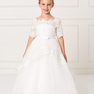 Beautiful Floor Length First Communion Dress with Lace Sleeves