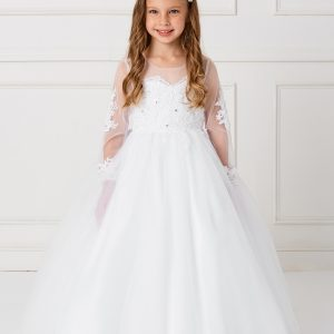 Beautiful Floor Length First Communion Gown with Detachable Train