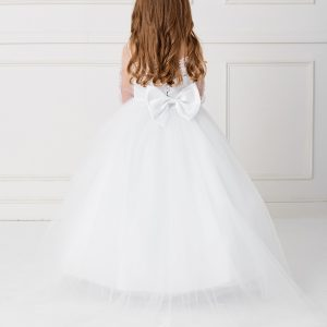 Beautiful Floor Length First Communion Gown with Detachable Train Back