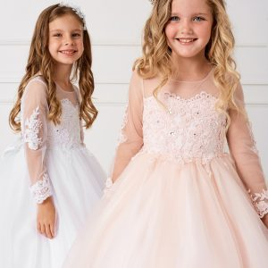 Beautiful Floor Length First Communion Gown with Detachable Train for New Season