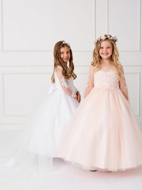 Beautiful Floor Length First Holy Communion Gown with Detachable Train