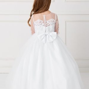 Beautiful Floor Length Girls First Communion Gown with Detachable Train