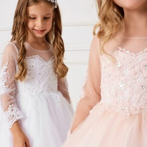 Beautiful Floor Length White or Blush First Communion Gown with Detachable Train