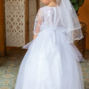 Beautiful Lace Top with sleeves Full Length First Communion Dress