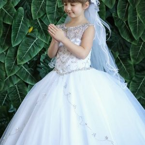 Beautiful Long Length First Communion Gown with Intricate Beading