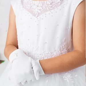 Beautiful White First Communion Dress with Lace Satin and Tulle