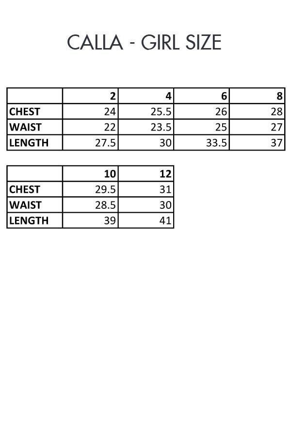Calla Girl First Communion Size Chart