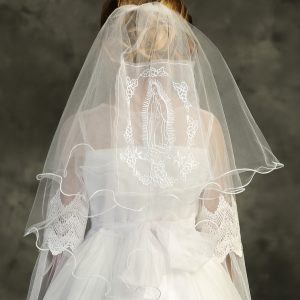 Catholic First Communion Veil with Embroidered Virgin Mary
