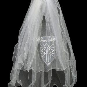 Catholic First Communion Veil with Mi Primera Communion Cross