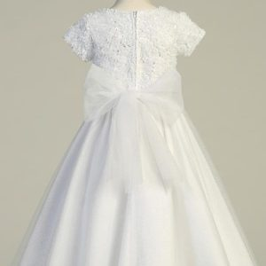 Tea Length Chiffon First Communion Dress with Tulle