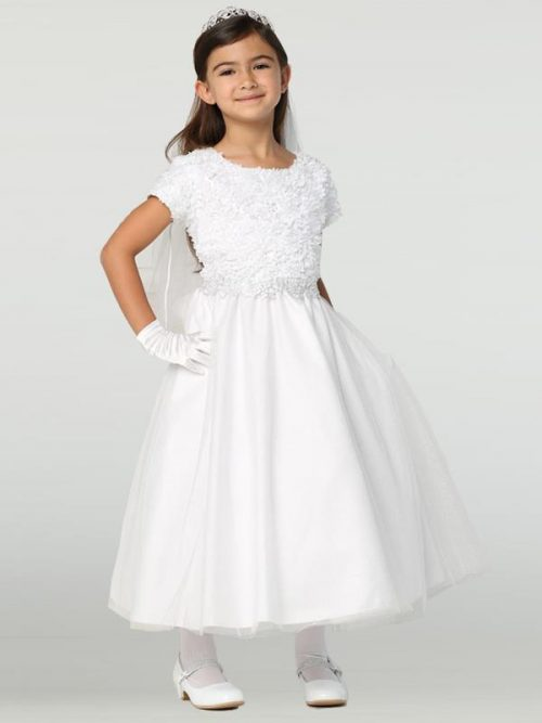 Chiffon First Communion Dress with Tulle
