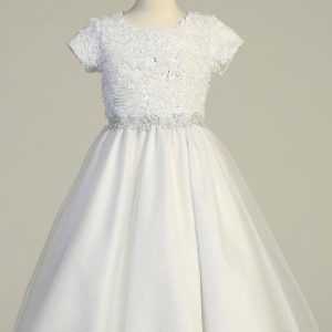 Short Sleeves Chiffon First Communion Dress with Tulle