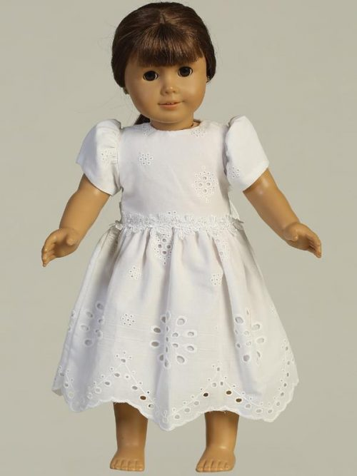 Cotton eyelet First Communion Doll Dresses