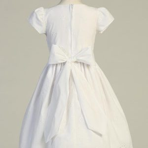 Tea Length Cotton Eyelet First Communion Dress