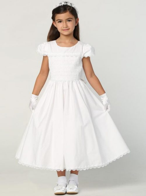 New Style Cotton First Communion Dress with Smocked Bodice and Cap Sleeves for 2020