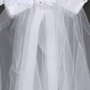 Crown Holy Communion Veil Rhinestone Flowers