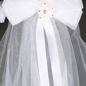 Crown Holy Communion Veil Rhinestone Flowers Bow