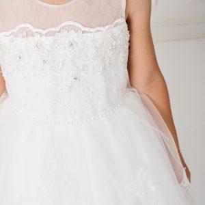 Cute Tea Length White Lace Organza First Communion Dress
