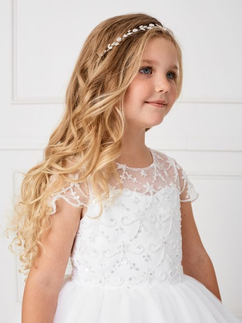 Delicate Rhinestone Floral First Communion Hair Wreath