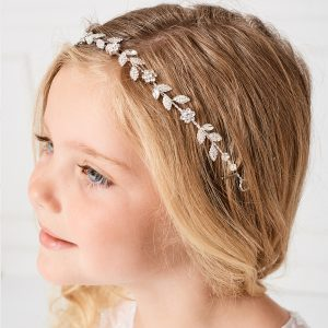 Delicate Leaves Silver First Communion Hairband
