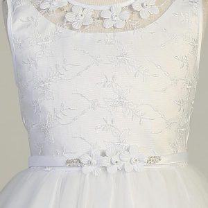 Embroidered First Communion Dress with Flower Bodice