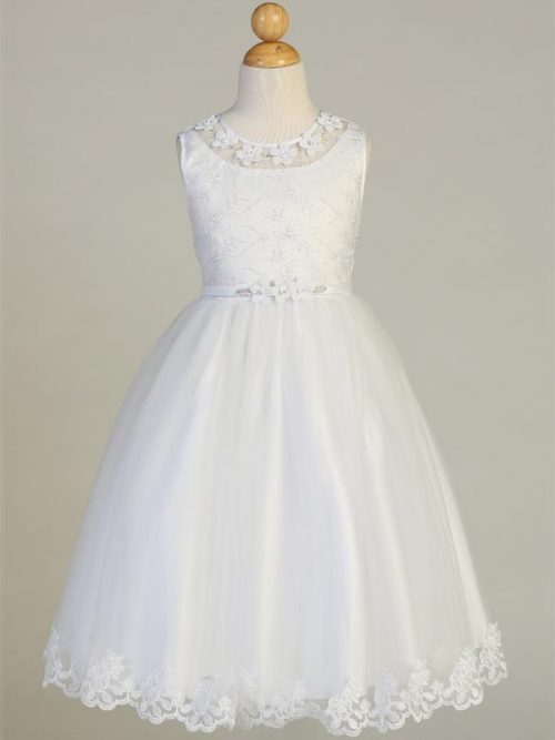 Embroidered First Communion Dress with Flower Neckline