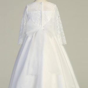 Tea Length Embroidered Lace First Communion Dress with Three Quarter Sleeves