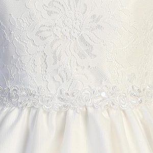 Embroidered Lace First Communion Dress Lace Bodice