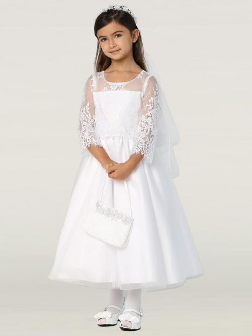 Embroidered Lace First Communion Dress with Three Quarter Sleeves
