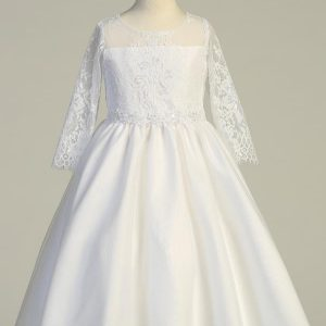 New 2020 Embroidered Lace First Communion Dress with Three Quarter Sleeves