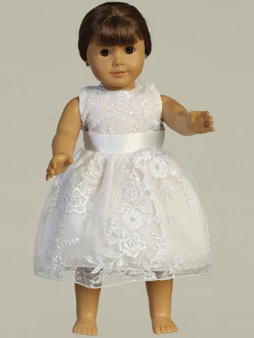 Embroidered tulle with sequins First Communion Doll Dress