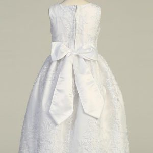 Tea Length Embroidered Tulle First Communion Dress