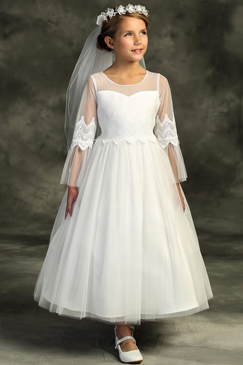 Embroidery Mesh First Communion Dress with Long Sleeves