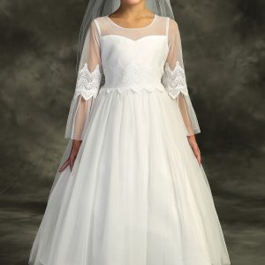 Embroidery Mesh First Communion Dress with Sleeves