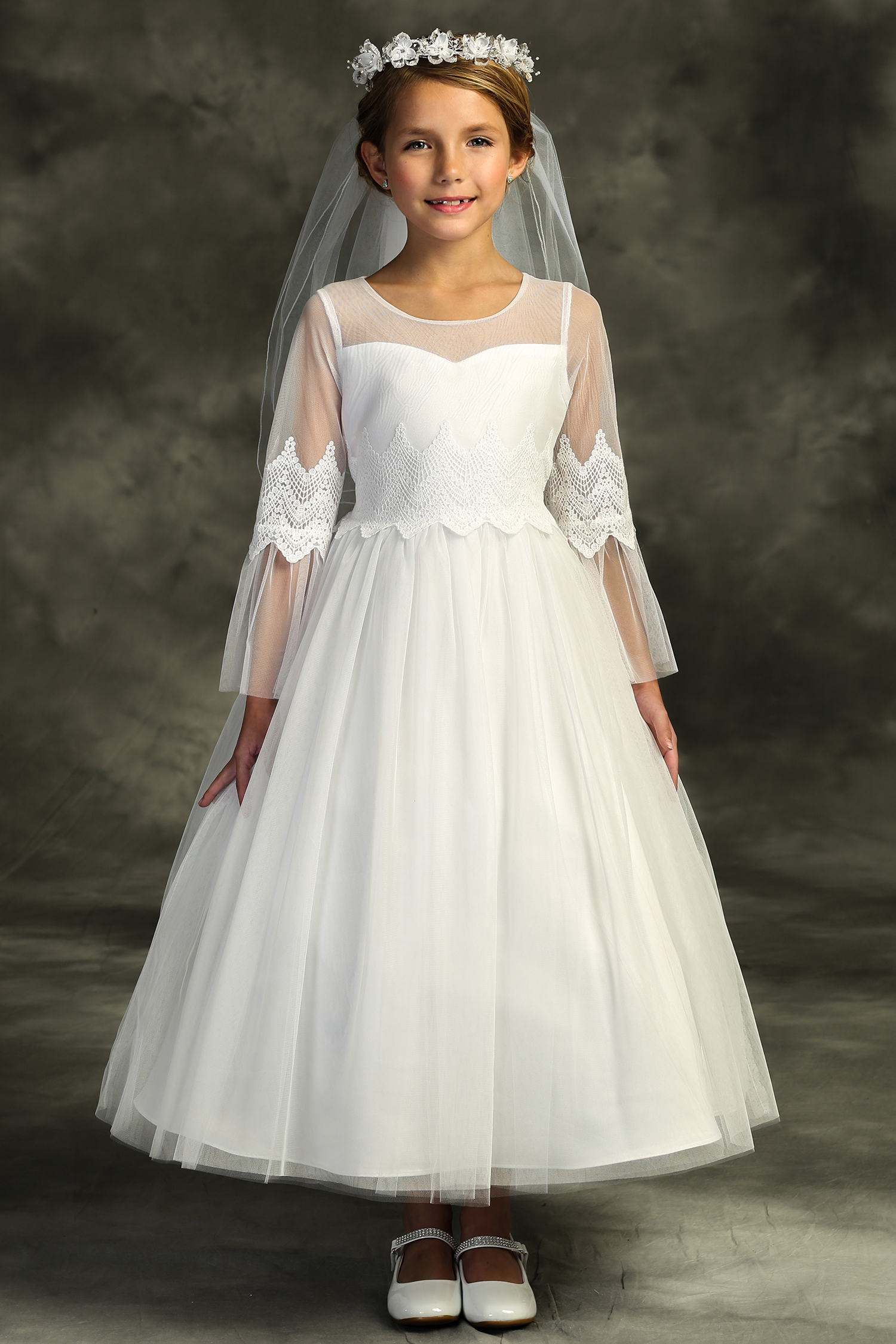 Embroidery Mesh First Communion Dress with Sleeves | Buy