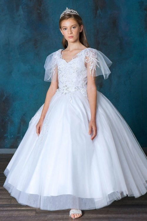 Elegant First Communion Gown with Flutter Sleeves