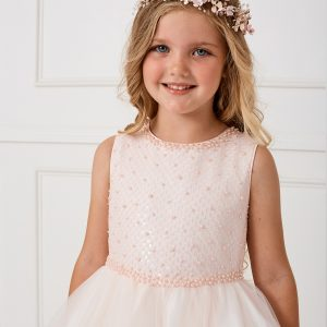 FIrst Communion Flower Hairband-Blush 150