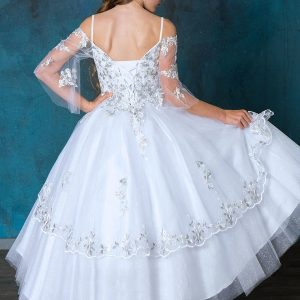 First Communion Ball Gown with Off Shoulder Sleeves Metallic Accents