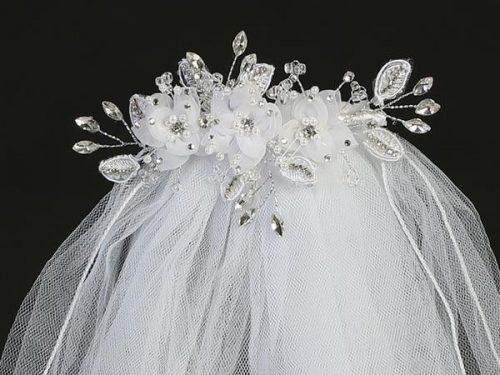 First Communion Comb Veil Organza Flowers Pearls Rhinestones Crystals
