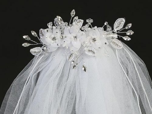 First Communion Comb Veil Organza Flowers Pearls Rhinestones Crystals